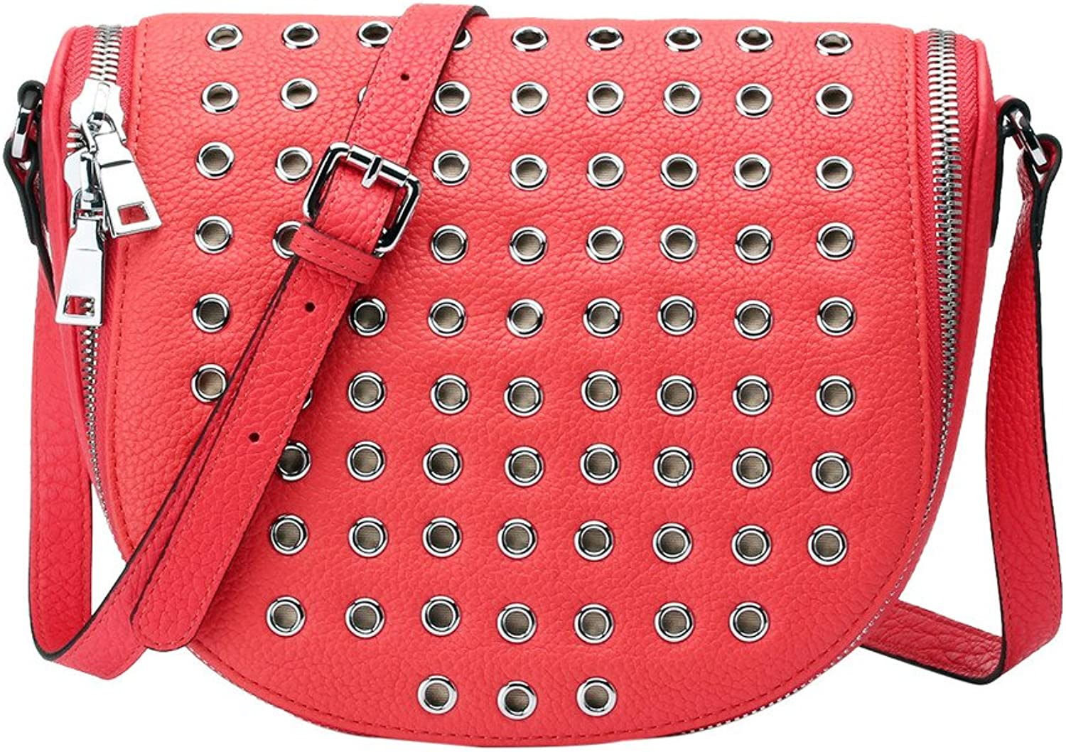 Contacts Women Medium Handbag Corn Rivets Shoulder Bag Genuine Leather orange Red