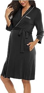 Molliya Maternity Nursing Robe Women Printed Pregnancy Hospital Delivery Pockets Bathrobe