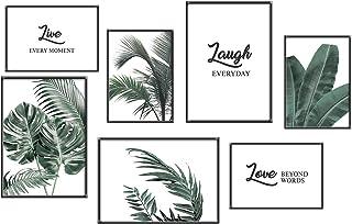 Anhuib Lot de 7 posters de qualité supérieure pour salon, feuilles vertes, citations inspirantes, plantes modernes sur toi...