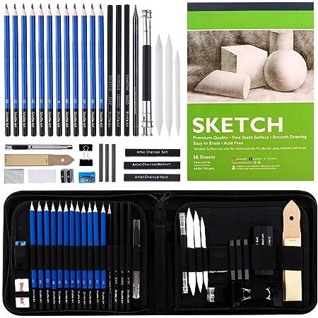 Shuttle Art スケッチ鉛筆 デッサンツール 子供や大人も適用な絵具 37点 ポップアップ式 ポータブル 収納カース付き 素描初心者 アーティスト 美術 アート専門 製図 クラフト