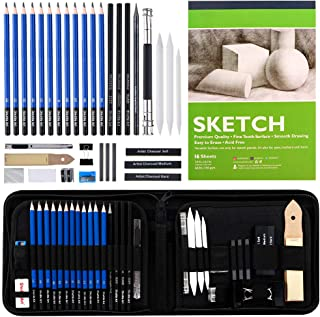 Sketching and Drawing Pencils Set, 37-Piece Professional Sketch Pencils Set in Zipper Carry Case, Art Supplies Drawing Set...