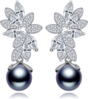 Moniya Simulated Gray-Black Pearls Earrings Leaves Design AAA Cubic Zirconia Drop Earrings for Women