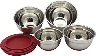 Checkered Chef Stainless Steel Mixing Bowls Set of 4 - Med to Small - Nesting Stackable Stainless Steel Bowls with Lids an...