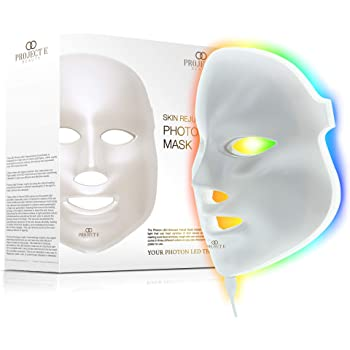 Project E Beauty LED Face Mask Light Therapy | 7 Color Skin Rejuvenation Therapy LED Photon Mask Light Facial Skin Care Anti Aging Skin Tightening Wrinkles Toning Mask