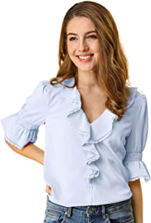 Allegra K Women's Ruffle V Neck Half Bell Sleeve Blouse Summer Vintage Casual Chiffon Peasant Top