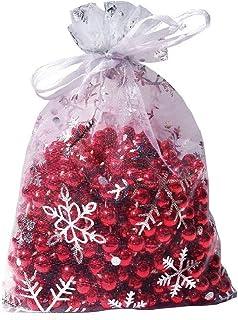 Wuligirl 100pcs 5X7 Inches Christmas Drawstring Organza Gift Bag Snow White Pouches Party Wedding Favor Seashell Chocolate...
