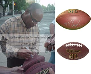 Mike Singletary Chicago Bears Autographed Hand Signed NFL Wilson Football with Exact Proof Photo of Michael Signing, San Francisco 49ers, Baylor University Bears, COA