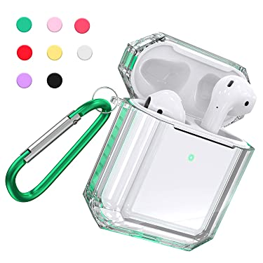 Fitlink Case for AirPods 2&1, Anti-Scratch Shock-Absorption Soft TPU Crystal Clear Case Cover for Apple AirPods 2&1 in Charging Case with Carabiner (AirPods with Wired Charging Case, Mint Green)