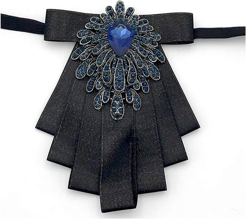 Rhinestone Bow Tie Ribbon Bow Collar Brooch Pin Tuxedo Banquet Cravat