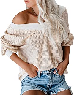 LAMISSCHE Womens Waffle Knit Off Shoulder Tops Oversized Long Sleeve Loose Fit Pullover