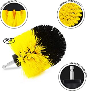 Lanzhilan 3Pcs Drill Brush Set, Medium Bristles Drill Powered Cleaning Brush Attachments - Great for Cleaning Bathtubs, Shower, Sinks, Tiles and Much More (Yellow)