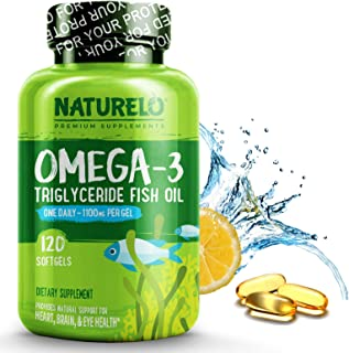NATURELO Omega-3 Fish Oil Supplement - EPA + DHA - 1100 mg Triglyceride Omega-3 per Gel - One A Day - for Heart, Eye, Brai...