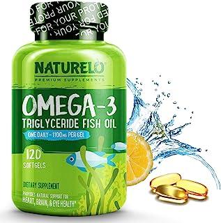 NATURELO Omega-3 Fish Oil Supplement - EPA + DHA - 1100 mg Triglyceride Omega-3 per Gel - One A Day - for Heart, Eye, Brai...