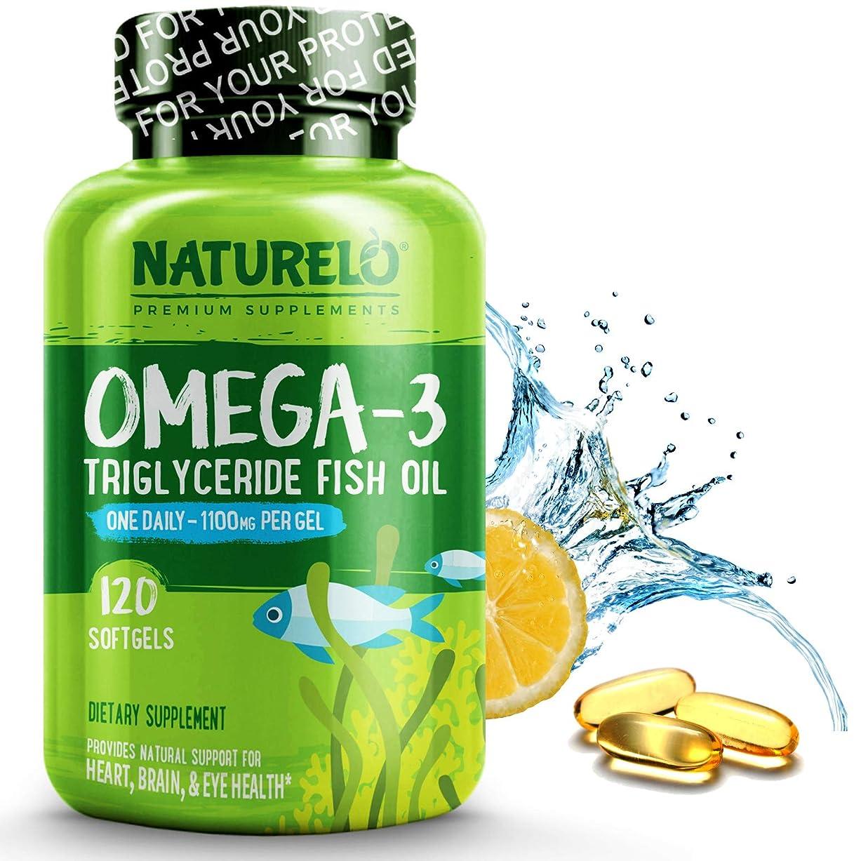 盲信気分吹きさらしNATURELO プレミアム フィッシュ オイル サプリメント (120ソフトカプセル) Premium Fish Oil Supplement - 1100mg Triglyceride Omega-3 - One A Day - Best For Heart, Eye, Brain & Joint Health - 120 Softgels   4 Month Supply