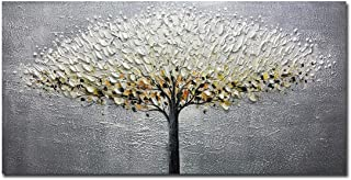 Yotree Paintings, 24x48 Inch Paintings Oil Hand Painting Silver-Gray Tree Painting 3D Hand-Painted On Canvas Abstract Artwork Art Wood Inside Framed Hanging Wall Decoration Abstract Painting