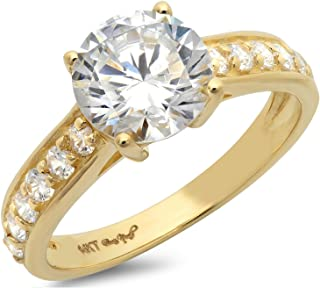 Clara Pucci 2.35 CT Designer Brilliant Round Cut CZ Classic Solitaire Ring Accent Band 14k Solid Yellow Gold