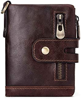 Leather Bag Mens Cowhide Multi-Function Men's Wallet Cross-Border European and American Leather Zipper Buckle Clutch Bag High Capacity (Color : Brown, Size : S)