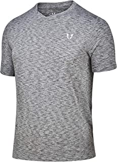 FIRM ABS Men's Short Sleeve V-Neck Stretchy Moisture Wicking Fitness Gym Workout Athletic Casual T-Shirt Tops