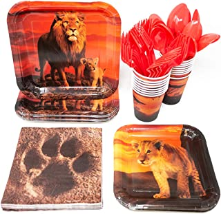 Lion Party Supplies Pack (113+ Pieces for 16 Guests), King of The Jungle, Lion Tableware, Jungle Paper Plates