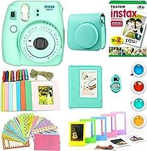 Fujifilm Instax Mini 9 Instant Print Camera Super Bundle with New Camera Case and Accessories , Photo Album, Photo Stickers, 10 Mini Frames and More (Mint Green)(Renewed)
