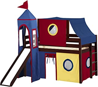 JACKPOT! Castle Low Loft Bed with Slide Red & Blue Tent and Tower, Loft Bed, Twin, Cherry