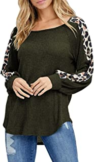 Pink Queen Women's Casual Leopard Print Long Sleeve Waffle Knit Tunic Tops