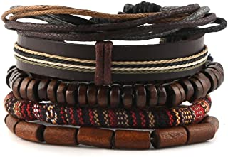 HZMAN Wrap Bracelets Men Women, Hemp Cords Wood Beads Ethnic Tribal Bracelets, Leather Wristbands