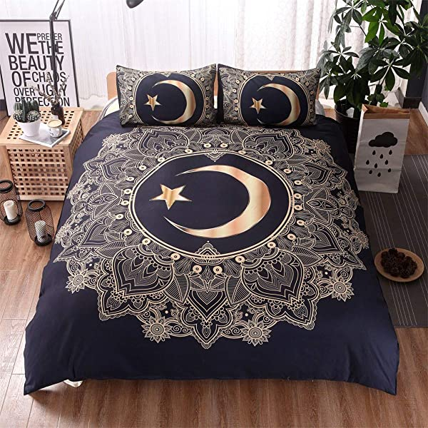 Beyonds Skin Friendly 3 Piece Bed Set Moon Pattern Soft Three Bed Set For Deeper Sleep Includes X1 Duvet Cover X2 Pillowcases Home School Bed Decor