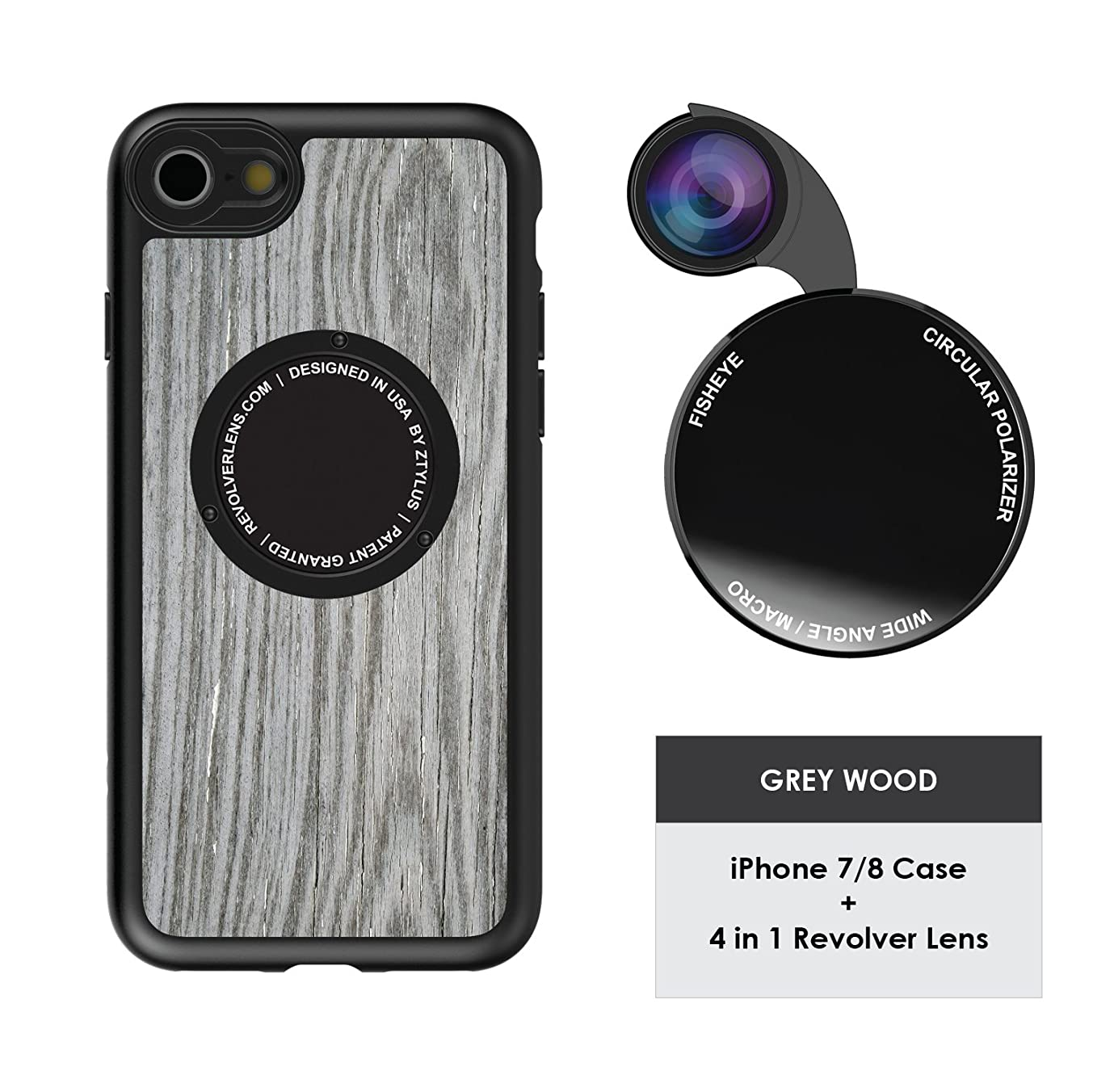 Ztylus Designer Revolver M Series Camera Kit: 4 in 1 Lens with Case for iPhone 7/8 – Fisheye Lens, Wide Angle Lens, Macro Lens, CPL (Grey Wood Pattern)