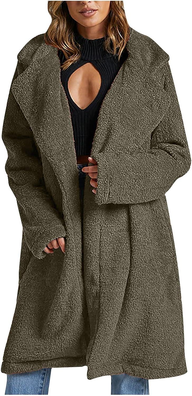 Women's Fuzzy service Ranking TOP7 Fleece Coat Lapel Long Teddy Shearling Open Front