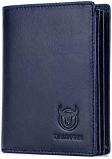 Large Capacity Genuine Leather Bifold Wallet/Credit Card Holder for Men with 15 Card Slots QB-027 (Blue)
