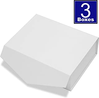 Cohaja Matte White Gift Box with Lid   3 Pack   12 x 9 x 4 Inch   Magnetic Closure   Multiple use   Decorative Gift or Storage Boxes for Bridesmaid Proposals, Favors, Weddings, Office and More