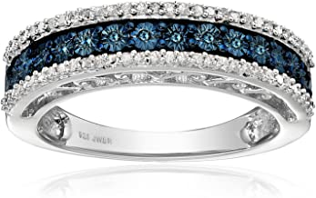 Jewelili Sterling Silver 1/10cttw Blue and White Diamond Anniversary Ring