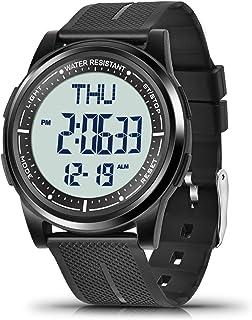 WIFORT Montre Digitale pour Homme Femme, 5ATM Étanche Montres Bracelet avec EL Rétroéclairage Double Temps Chronomètre Com...