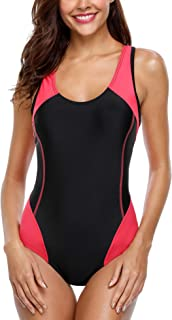 BeautyIn Athletic One Piece Swimsuit for Women Racerback Sports Padded Swimwear