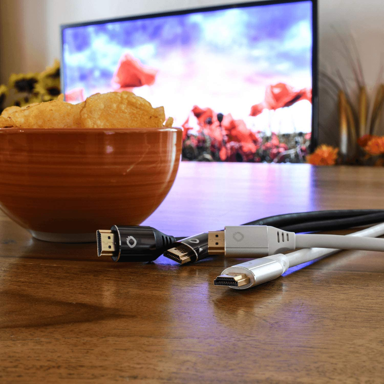 8K Ultra High-Speed HDMI-Kabel 48Gbit//s 8K FUHD 60Hz 4320p // 4K 120Hz 2160p 21:9 Cinema, 3D, Dolby Vision, Dynamic HDR 10+, VRR, eARC, UHD2 - 75cm Schwarz OEHLBACH Black Magic MKII