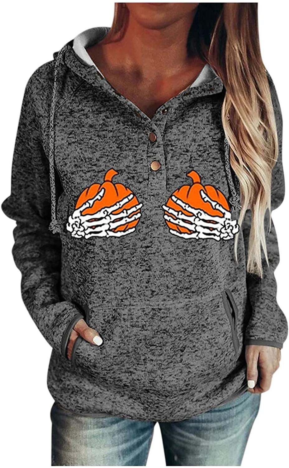 Halloween Sweatshirts for Women Lightweight Pumpkin Printed Hoodies Sweaters Long Sleeve Drawstring Pullover with Button