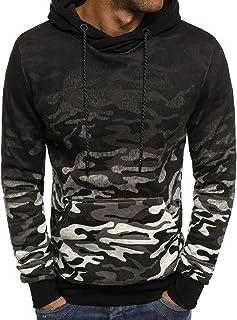 Sodossny-AU Mens Gradient Camouflage Print Autumn Kangaroo Pocket Hoodie Pullover