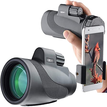 GOSKY 単眼鏡 望遠鏡 12 × 50高倍率 広角 12倍 コンサート バードウォッチング スマートフォンアダプター 防水霧 耐衝撃 (1250ブラック)