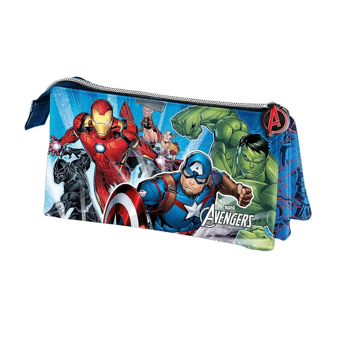 Karactermania The Avengers Powerful-Triple Pencil Cases, 23 cm, Blue
