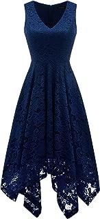 Women's Vintage Floral Lace Dress Handkerchief Hem Asymmetrical Cocktail Formal Swing Dress