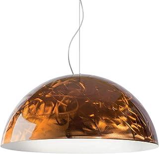 L+ Lampadario Sospensione Moderno Cupola 1 luce di diametro 60 cm in materiale Metallo Smerigliato Rame MADE IN ITALY