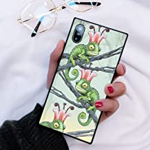 Chameleon Pink Floral Crown iPhone X 10 Xs Phone Case Black TPU Protective case Shockproof Non-Slip Soft Designed Chameleon Pink Floral Crown case for iPhone X 10 Xs