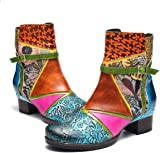 gracosy Womens Ankle Boots Leather Low Block Heel Boots Casual Side Zipper Oxford Buckle Bootie Ladies Retro Handmade Flower Bohemian Splicing Pattern Comfort Boots Outdoor Winter Warm Snow Boots Size