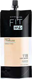 Maybelline Fit Me Matte + Poreless Liquid Foundation, Face Makeup, Mess-Free No Waste Pouch Format, Normal to Oily Skin Types, Light Beige, 1.3 Fl Oz