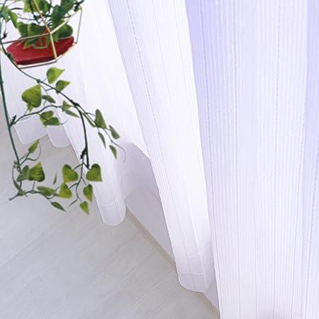 [窓美人] ミラーレースカーテン [ルフレ] 昼間外から見えにくい UVカット レース 2枚組 + カーテンフック取り付け済み ストライプ柄 幅100x丈176cm 2枚セット レース単品