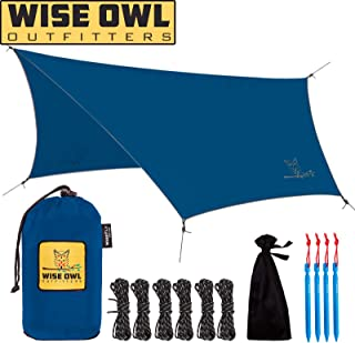 Wise Owl Outfitters Hammock Rain Fly Tent Tarp – The WiseFly Premium 11 x 9 ft Large Hex Waterproof Ripstop Nylon Camping Shelter Canopy Rainfly – Lightweight Camp Gear Accessories - 5 Colors