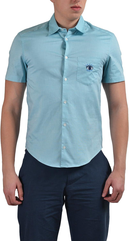 Kenzo Men's Turquoise Slim Fit Short Sleeve Dress Shirt US 15 1/4 IT 39