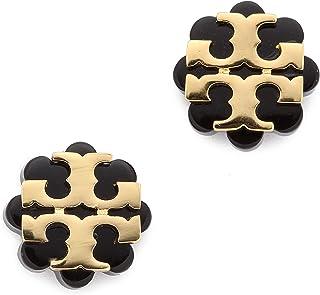 Tory Burch Flower Resin Logo Earrings - Black Gold