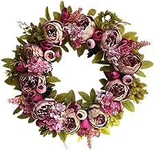 Bestonzon Artificial Peony Wreath Flower Door Wreath with Green Leaves Spring Wreath for Front Door Wedding Wall Home Fall...